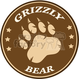 royalty free rf clipart illustration bear paw print brown circle label design vector illustration isolated on white background clipart. Royalty-free image # 398983