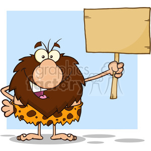 happy male caveman cartoon mascot character holding a wooden board vector illustration clipart. Royalty-free image # 399003