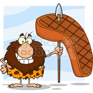 smiling male caveman cartoon mascot character holding a spear with big grilled steak vector illustration clipart. Commercial use image # 399023