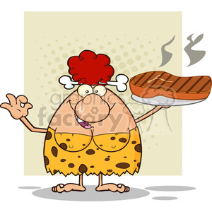 10073 red hair cave woman cartoon mascot character holding up a platter with big grilled steak and gesturing ok vector illustration clipart. Royalty-free image # 399123