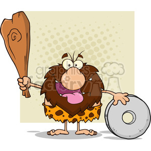 9940 happy male caveman cartoon mascot character holding a club and showing whell vector illustration clipart. Commercial use image # 399133