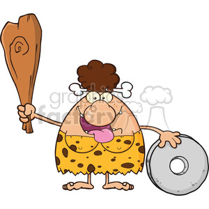 happy brunette cave woman cartoon mascot character holding a club and showing whell vector illustration clipart. Commercial use image # 399163