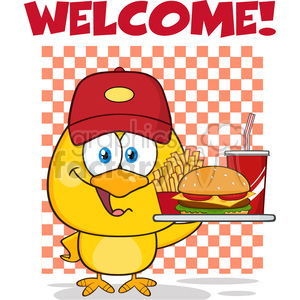 royalty free rf clipart illustration yellow chick cartoon character wearing a baseball cap and holding a fast food tray under welcome vector illustration isolated on white clipart. Commercial use image # 399213