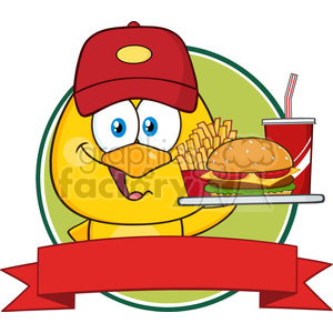 royalty free rf clipart illustration yellow chick cartoon character wearing a baseball cap and holding a fast food over a ribbon banner vector illustration isolated on white clipart. Commercial use image # 399223
