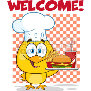 royalty free rf clipart illustration chef yellow chick cartoon character holding a fast food tray under welcome vector illustration isolated on white clipart. Commercial use image # 399233