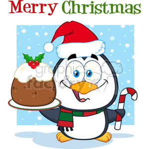 royalty free rf clipart illustration cute penguin cartoon character holding christmas pudding and candy cane on the snow vector illustration greeting card clipart. Royalty-free image # 399263