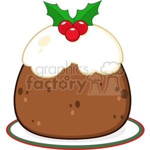 royalty free rf clipart illustration holly topped christmas pudding on a plate vector illustration isolated on white