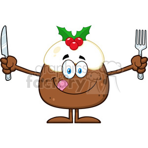royalty free rf clipart illustration christmas pudding cartoon character licking his lips and holding silverware vector illustration isolated on white clipart. Royalty-free image # 399283