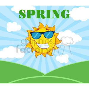royalty free rf clipart illustration sunshine smiling sun mascot cartoon character with sunglasses over landscape vector illustration with suburst background and text spring clipart. Royalty-free image # 399293