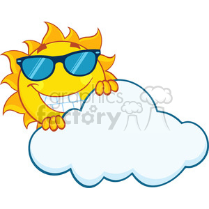 royalty free rf clipart illustration smiling summer sun mascot cartoon character with sunglasses hiding behind cloud vector illustration isolated on white background clipart. Commercial use image # 399304