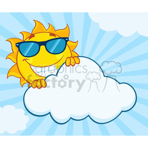 royalty free rf clipart illustration smiling summer sun mascot cartoon character with sunglasses hiding behind cloud vector illustration with background clipart. Royalty-free image # 399312