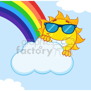 royalty free rf clipart illustration smiling summer sun mascot cartoon character with sunglasses hiding behind cloud with rainbow vector illustration with background clipart. Royalty-free image # 399322
