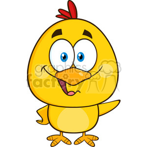 royalty free rf clipart illustration cute yellow chick cartoon character waving vector illustration isolated on white clipart. Royalty-free image # 399332