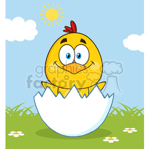 royalty free rf clipart illustration happy yellow chick cartoon character hatching from an egg vector illustration with background clipart. Commercial use image # 399352