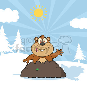 royalty free rf clipart illustration happy marmmot cartoon character waving in groundhog day vector illustration with background