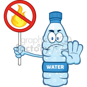 illustration cartoon ilustation of a water plastic bottle mascot character holding a no fire sign vector illustration isolated on white background clipart. Commercial use image # 399372
