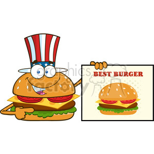 illustration american burger cartoon mascot character pointing to a sign banner with text best burger vector illustration isolated on white background clipart. Commercial use image # 399392