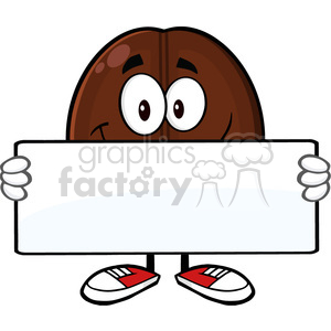 illustration smiling coffee bean cartoon mascot character holding a blank sign vector illustration isolated on white clipart. Royalty-free image # 399422