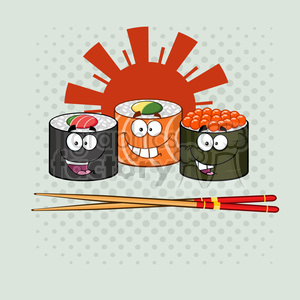 illustration sushi roll set cartoon characters with chopsticks vector illustration with background clipart. Royalty-free image # 399431