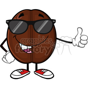 illustration cute coffee bean cartoon mascot character with sunglases giving a thumb up vector illustration isolated on white clipart. Commercial use image # 399441