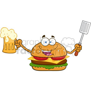 illustration happy burger cartoon mascot character holding a beer and bbq slotted spatula vector illustration isolated on white clipart. Royalty-free image # 399453