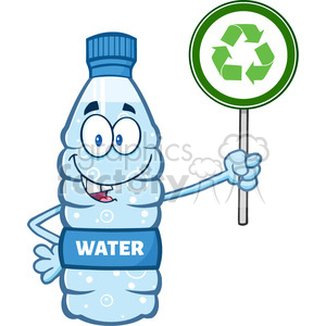 illustration cartoon ilustation of a water plastic bottle mascot character holding up a recycle sign vector illustration isolated on white background clipart. Commercial use image # 399473
