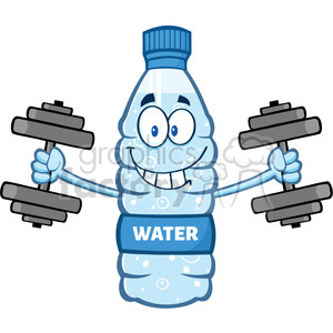illustration cartoon ilustation of a water plastic bottle mascot character working out with dumbbells vector illustration isolated on white background clipart. Commercial use image # 399483