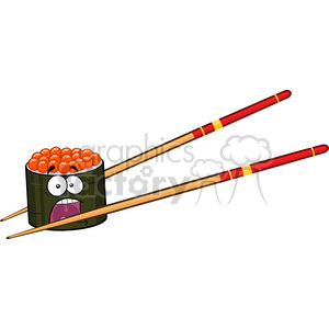 9409 illustration panic sushi roll cartoon mascot character with chopsticks vector illustration isolated on white clipart. Royalty-free image # 399503