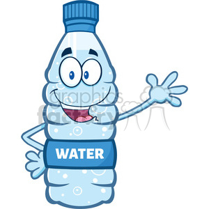 illustration cartoon ilustation of a water plastic bottle mascot character waving waving for greeting vector illustration isolated on white background clipart. Commercial use image # 399523