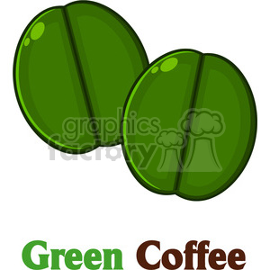 illustration two green coffee beans cartoon vector illustration with text isolated on white clipart. Royalty-free image # 399543