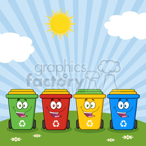 royalty free rf clipart illustration four color recycle bins cartoon character on a sunny hill vector illustration isolated on white background clipart. Commercial use image # 399553