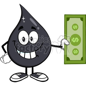 royalty free rf clipart illustration smiling petroleum or oil drop cartoon character holding a dollar bill vector illustration isolated on white background clipart. Royalty-free image # 399570