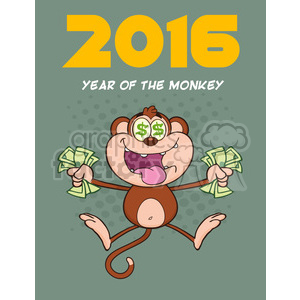 9077 royalty free rf clipart illustration greedy monkey cartoon character jumping with cash money and dollar eyes vector illustration new year greeting card clipart. Commercial use image # 399598