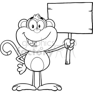 royalty free rf clipart illustration black and white smiling monkey cartoon character holding up a blank wood sign vector illustration isolated on white clipart. Royalty-free image # 399608