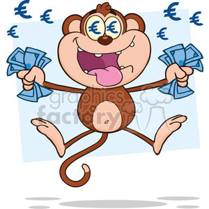 royalty free rf clipart illustration rich monkey cartoon character jumping with cash money and euro eyes vector illustration with bacground isolated on white