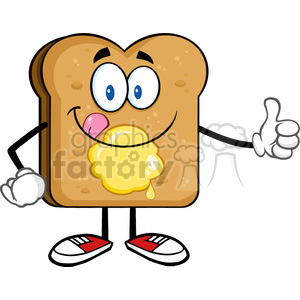 royalty free rf clipart illustration toast bread slice cartoon character licking his lips with giving a thumb up vector illustration isolated on white background clipart. Royalty-free image # 399638