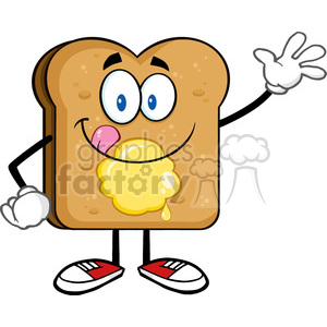 royalty free rf clipart illustration happy toast bread cartoon character licking his lips with butter waving vector illustration isolated on white background clipart. Commercial use image # 399668