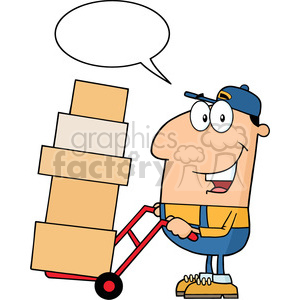 royalty free rf clipart illustration delivery man cartoon character using a dolly to move boxes with speech bubble vector illustration with isolated on white clipart. Commercial use image # 399706