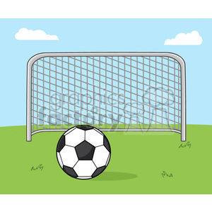 soccer cartoon character ball net goal
