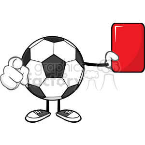 soccer ball faceless cartoon mascot character referees pointing and showing red card vector illustration isolated on white background