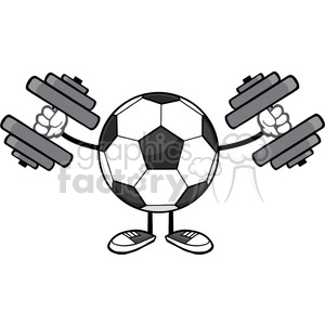 soccer ball faceless cartoon mascot character working out with dumbbells vector illustration isolated on white background clipart. Royalty-free image # 399796