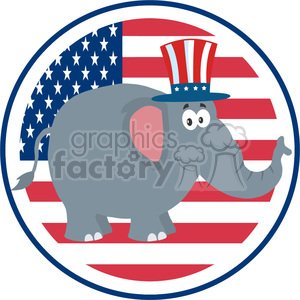 9305 funny republican elephant cartoon character with uncle sam hat over usa flag label vector illustration flat design style isolated on white clipart. Royalty-free image # 399806