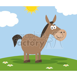 smiling donkey cartoon character vector illustration flat design style clipart. Royalty-free image # 399826
