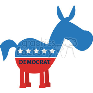 red white and blue democrat donkey vector illustration flat design style isolated on white with text clipart. Commercial use image # 399836