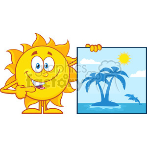 10131 talking sun cartoon mascot character pointing to a poster sign with tropical island vector illustration isolated on white background clipart. Royalty-free image # 399867