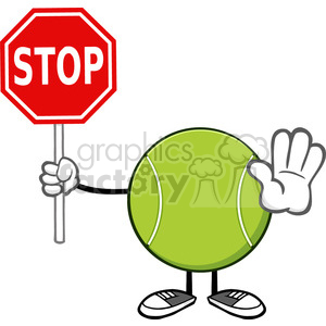 tennis ball faceless cartoon mascot character gesturing and holding a stop sign vector illustration isolated on white background clipart. Royalty-free image # 399897
