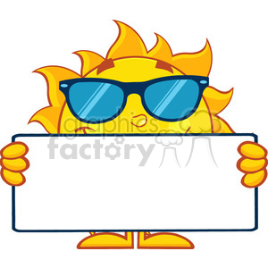 10121 cute sun cartoon mascot character with sunglasses holding a blank sign vector illustration isolated on white background clipart. Royalty-free image # 399907