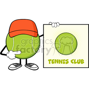tennis ball faceless cartoon mascot character with hat pointing to a sign tennis club vector illustration isolated on white background clipart. Royalty-free image # 399927
