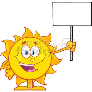10139 summer sun cartoon mascot character holding a blank sign vector illustration isolated on white background clipart. Royalty-free image # 399947