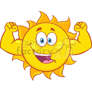 happy sun cartoon mascot character showing muscle arms vector illustration isolated on white background clipart. Commercial use image # 399957
